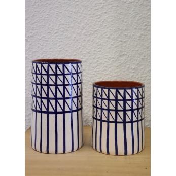 Cross vase, blue
