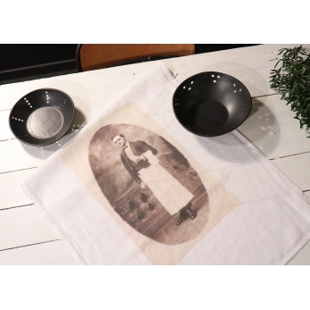 "Dish towel ""Coffee boy"" white"