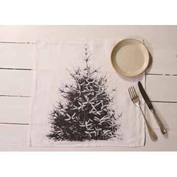 """Serviette de table """"Sapin de Noël"""" blanche"""