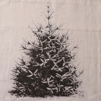 "Serviette de table ""Sapin de Noël"" blanche"