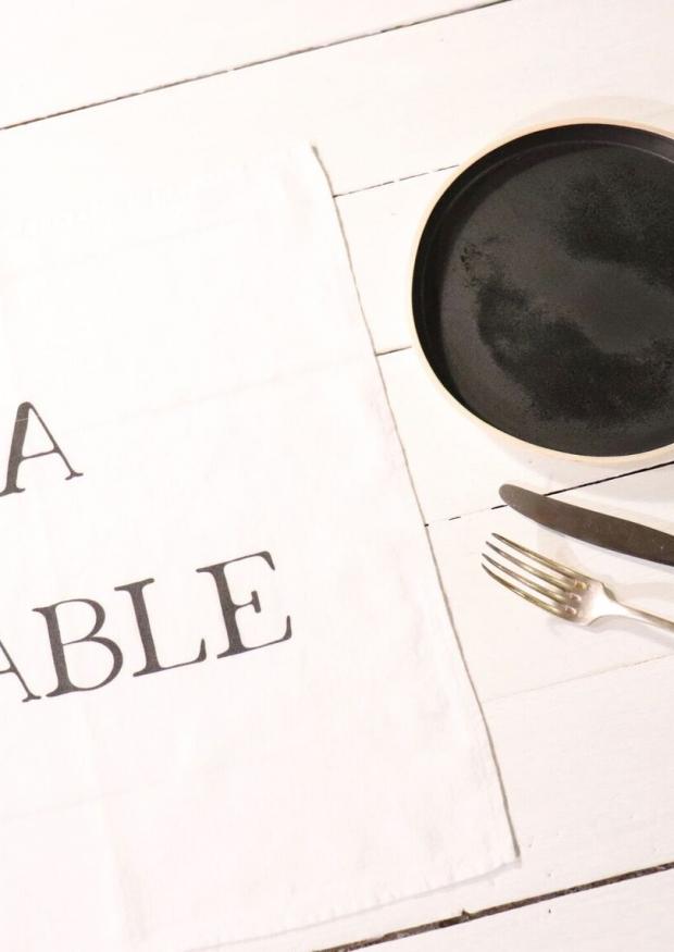 """Serviette de table """"A Table"""" blanche"""