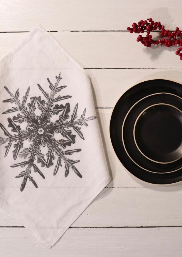"""Serviette de table """"Flocon"""" blanche"""