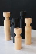 Bougeoir en bois cylindre noir
