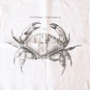 """Serviette de table """"Crabe"""" blanche"""
