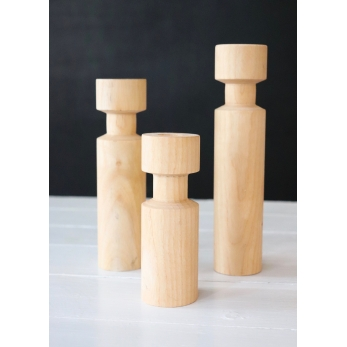 Wooden Cylindrical natural candlestick