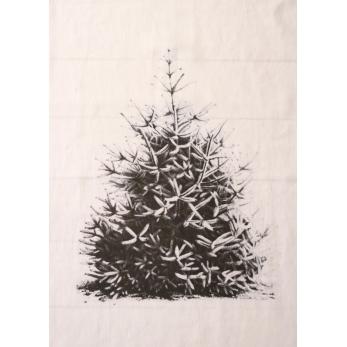 "Torchon ""Sapin de Noël"" blanc"