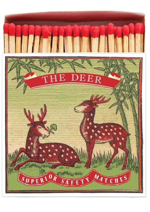 "Square matchbox ""Two deer"""