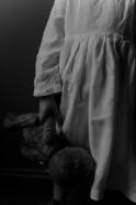 Pleated dress,  long sleeves, white linen
