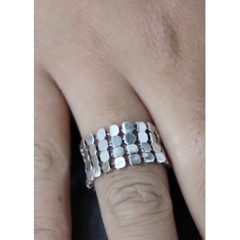 Large silver chain mail ring