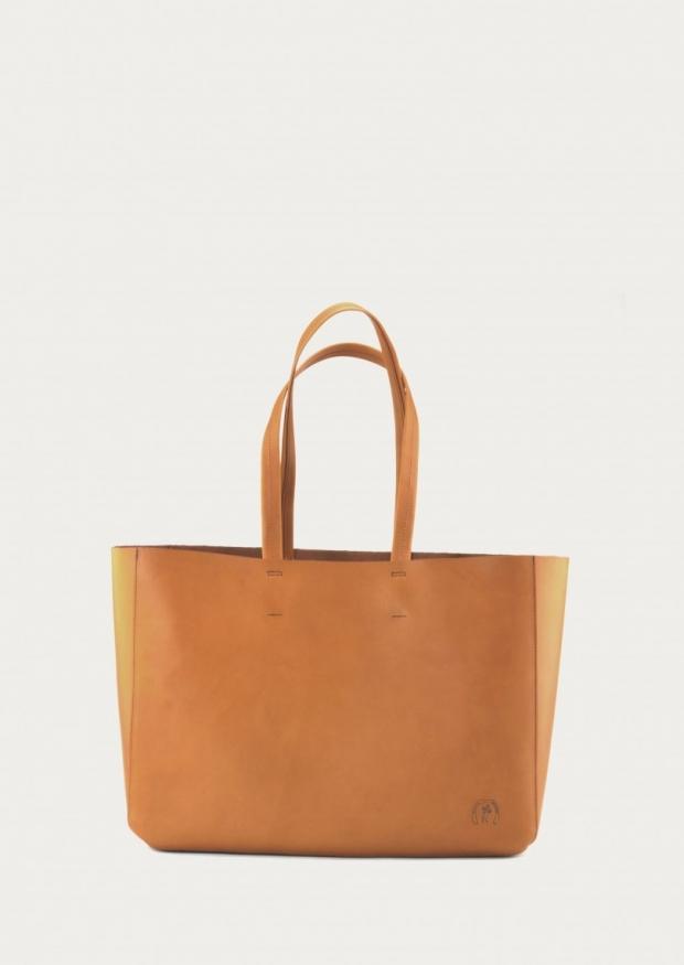 Bag Cabas, camel leather