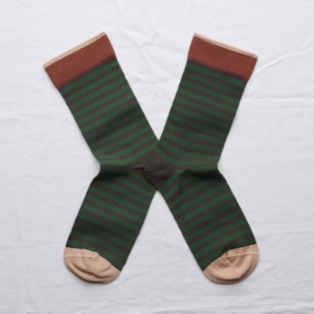 """Chaussettes """"Rayures"""" terre d'ombre"""