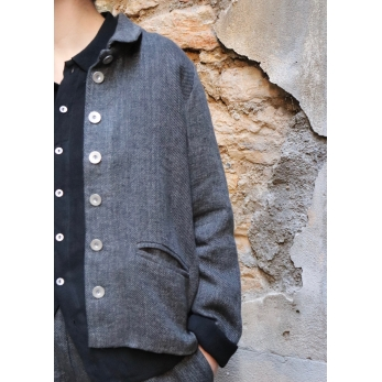 Woman jacket, grey heavy linen
