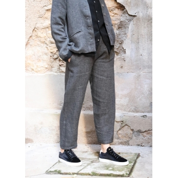 Classic trousers, grey heavy linen