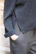Pull évasé, jersey epais gris sombre