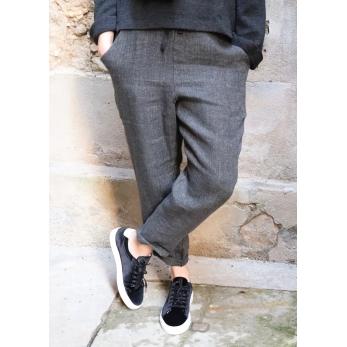Pockets trousers, grey heavy linen