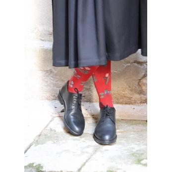 """""""Seedling"""" knee-highs socks, crimson"""