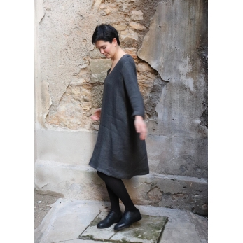 Flared dress, long sleeves, V neck, grey heavy linen