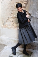 Pleated dress, sleeveless, grey heavy linen
