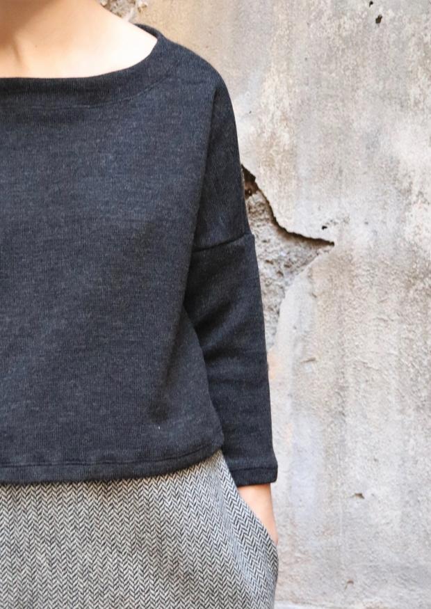 Winter 19 sweater, dark grey heavy jersey