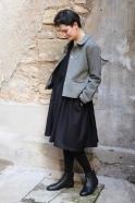 Robe à plis sans manches, flanelle noire