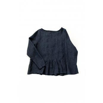 Long sleeves pleated blouse, indigo linen