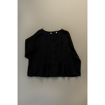 Long sleeves pleated blouse, black linen