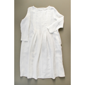 Robe plissée ML, lin blanc