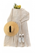 Long sleeves pleated dress, natural linen