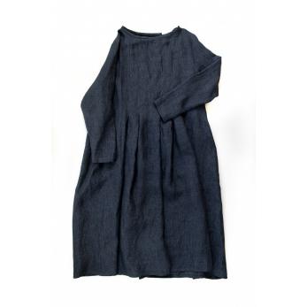 Robe plissée ML, lin indigo