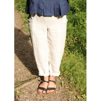 Pantalon été, lin épais naturel