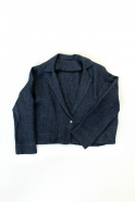 Flared jacket, indigo heavy linen
