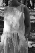 Combinaison plissée sans manches, lin blanc