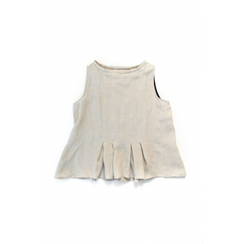 Sleeveless pleated blouse, natural linen
