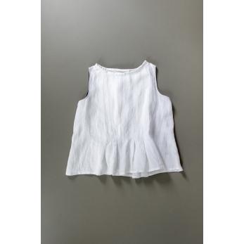 Blouse plissée SM, lin blanc