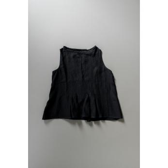 Blouse plissée SM, lin noir