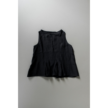 Sleeveless pleated blouse, black linen