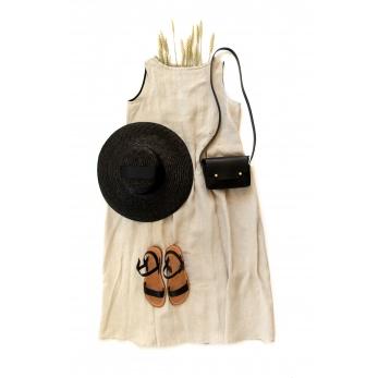 Sleeveless pleated dress, natural linen