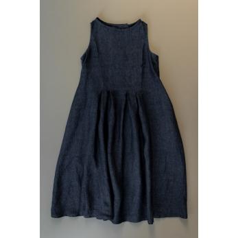 Sleeveless pleated dress, indigo linen