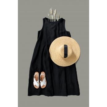 Robe plissée SM, lin noir