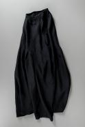 Sleeveless pleated dress, black linen