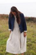 Veste femme, lin épais indigo