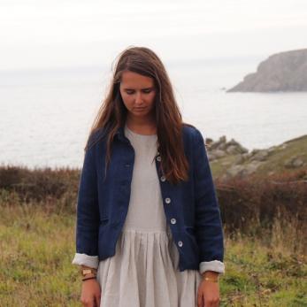 Woman jacket, indigo heavy linen