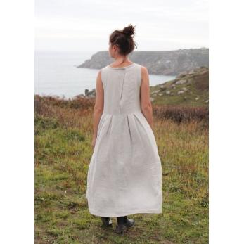 Robe longue plissée SM, lin naturel