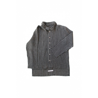 Chemise mixte, lin rayures sombres
