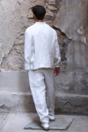 Summer trousers for man, natural heavy linen