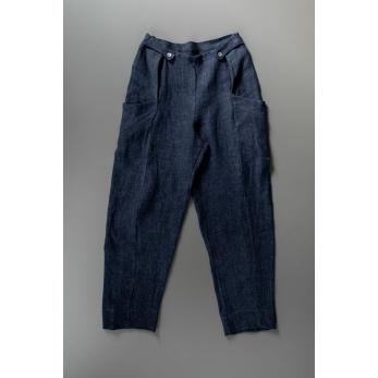 Pantalon été pour homme, lin épais indigo