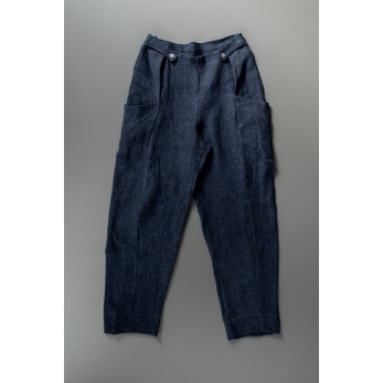 Summer trousers for man, indigo heavy linen