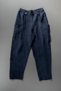Summer trousers for man, indigo heavy linen