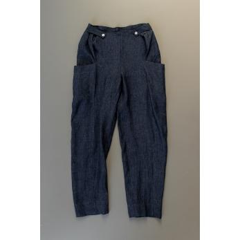 Summer trousers for man, indigo linen