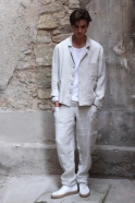 Veste de costume pour homme, lin épais naturel